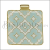 Square Pattern Pendant GOLD EPOXY - Pale Jade - per 1 piece