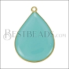 23mm Teardrop Pendant GOLD EPOXY - Aqua - per 2 pieces