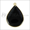 23mm Teardrop Pendant GOLD EPOXY - Black - per 2 pieces