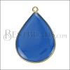 23mm Teardrop Pendant GOLD EPOXY - Blue - per 2 pieces