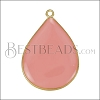 23mm Teardrop Pendant GOLD EPOXY - Coral - per 2 pieces