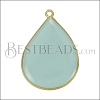 23mm Teardrop Pendant GOLD EPOXY - Pale Jade - per 2 pieces