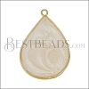 23mm Teardrop Pendant GOLD EPOXY - Pink Pearl - per 2 pieces