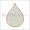 23mm Teardrop Pendant GOLD EPOXY - White - per 2 pieces