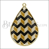 Teardrop ZigZag Pendant GOLD EPOXY - Black Mix - per 2 pieces