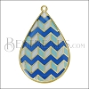 Teardrop ZigZag Pendant GOLD EPOXY - Blue Mix - per 2 pieces