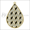 Teardrop ZigZag Pendant GOLD EPOXY - Grey Mix - per 2 pieces