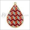 Teardrop ZigZag Pendant GOLD EPOXY - Sangria Mix - per 2 pieces