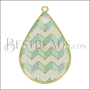 Teardrop ZigZag Pendant GOLD EPOXY - White Mix - per 2 pieces