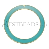 55mm Ring Pendant GOLD EPOXY - Aqua - per 2 pieces