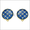 Round Tile Earring Post GOLD EPOXY - Blue - 2 pcs