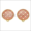 Round Tile Earring Post GOLD EPOXY - Coral - 2 pcs