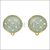Round Tile Earring Post GOLD EPOXY - Pale Jade - 2 pcs
