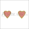 Heart Earring Post GOLD EPOXY - Coral - 2 pcs