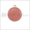 19mm Round Charm SILVER EPOXY - Coral - 2 pcs