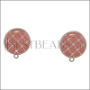 Round Tile Earring Post SILVER EPOXY - Coral - 2 pcs
