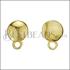 Disc Post Earring with Loop SHINY GOLD - per 10 pieces