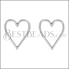 Heart Wire Post Earring ANT SILVER - per 10 pieces