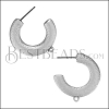 Hammered Hoop Post Earring with Loop ANT SILVER - per 10 pieces