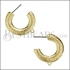 Hammered Hoop Post Earring with Loop SHINY GOLD - per 10 pieces