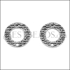 16mm Etched Circle Post Earring with Hole ANT SILVER - per 10 pieces