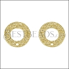 16mm Etched Circle Post Earring with Hole SHINY GOLD - per 10 pieces