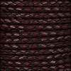 6mm round ITALIAN BRAIDED leather BURGUNDY - 1 meter