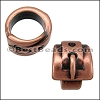 10mm round BUCKLE bead ANT COPPER - per 10 pieces