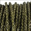 3mm round BRAIDED Euro leather DISTRESSED GREEN - meter
