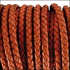 3mm round BRAIDED Euro leather DISTRESSED ORANGE - meter