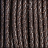 5mm round BRAIDED Euro leather BROWN - per 10 feet