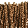 5mm round BRAIDED Euro leather CAMEL - per 10 feet