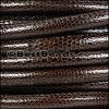 8mm round LIZARD PRINT STITCHED leather DK BROWN - 1 meter
