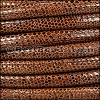 8mm round LIZARD PRINT STITCHED leather MED BROWN - 1 meter