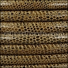 8mm round LIZARD PRINT STITCHED leather LT BROWN - 1 meter