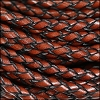6mm round ITALIAN BRAIDED leather BROWN - 1 meter