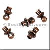 Glue-in Bead Cap with Loop ANT. COPPER - per 25 pieces