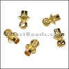 Glue-in Bead Cap with Loop SHINY GOLD - per 25 pieces