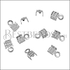3mm Striped End Clamp SILVER PLATE - 72 pcs