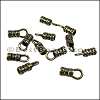 2mm Leather Crimp End with Loop ANT BRASS - 72 pcs