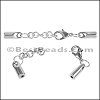 2mm Round SMOOTH ext. clasp ANT SILVER - per 10 clasps