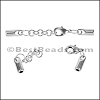 3mm Round SMOOTH ext. clasp ANT SILVER - per 10 clasps