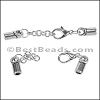 4mm Round CYLINDER ext. clasp ANT SILVER - per 10 clasps