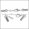 5mm Round CYLINDER ext. clasp ANT SILVER - per 10 clasps