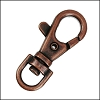38mm SWIVEL lobster clasp ANT. COPPER - per 10 pieces