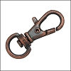 32mm SWIVEL lobster clasp ANT. COPPER - per 10 pieces