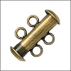 2 ring SLIDE clasp ANT BRASS - per 36 pieces