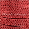 20mm BRAIDED BONDED flat leather RED - per 2 meters