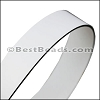 30mm STRIP flat leather WHITE with BLACK- approx. 3 feet