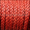 5mm Flat Indian Braided Leather NAT RED - 10 Meter BLACK Spool